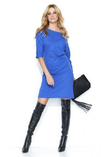 Sukienka dresowa midi odsłaniająca ramię niebieska