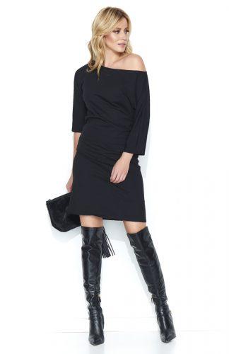Sukienka dresowa midi odsłaniająca ramię czarna