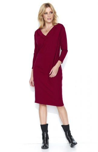 Bawełniana komfortowa sukienka midi bordo