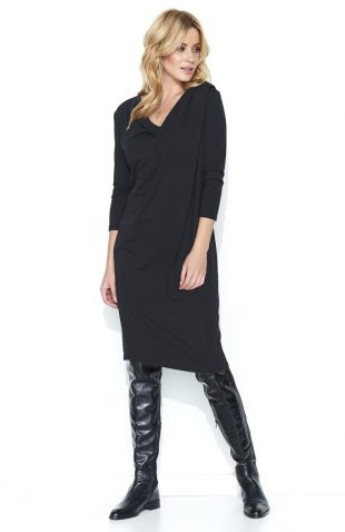 Bawełniana komfortowa sukienka midi czarna