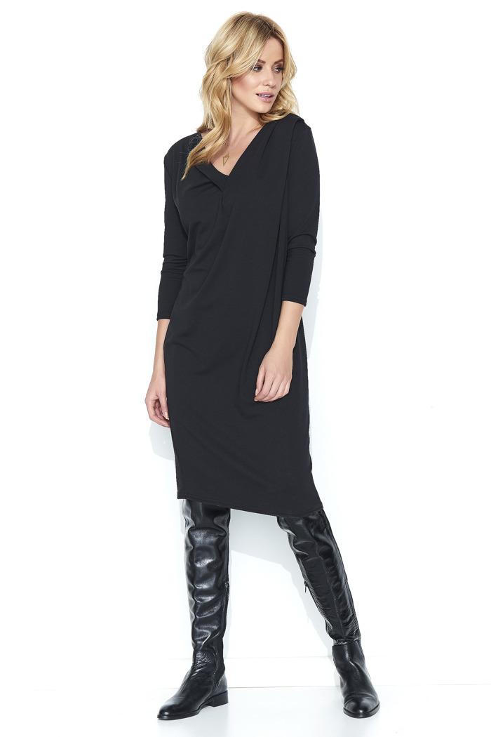 b47e7cbaf7 Bawełniana komfortowa sukienka midi czarna - sukienki szyte w Polsce