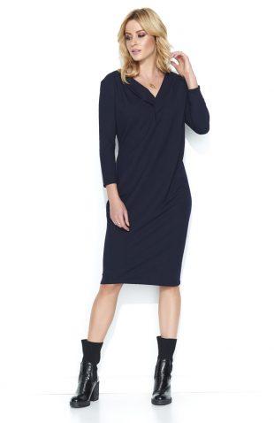 Bawełniana komfortowa sukienka midi granatowa