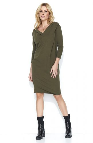 Bawełniana komfortowa sukienka midi khaki