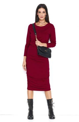 Dopasowana sukienka dresowa midi bordowa