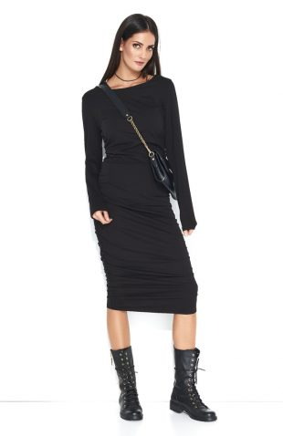 Dopasowana sukienka dresowa midi czarna