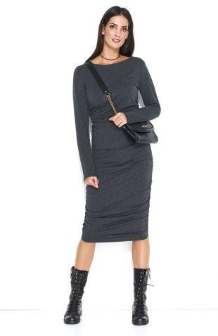 Dopasowana sukienka dresowa midi grafitowa