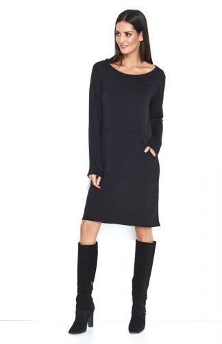 Dresowa wygodna sukienka do kolan z kieszenią czarna