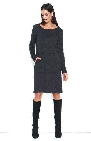 Dresowa wygodna sukienka do kolan z kieszenią grafit