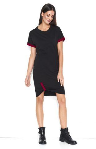 Sukienka dresowa do kolan bawełniana czarna
