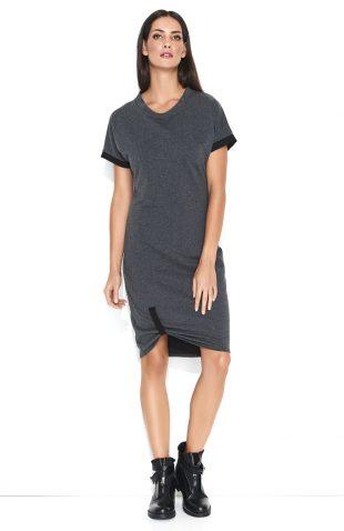 Sukienka dresowa do kolan bawełniana grafit