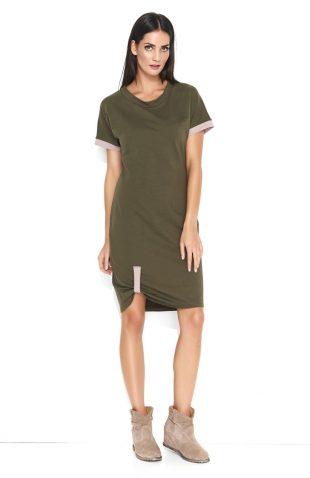 Sukienka dresowa do kolan bawełniana khaki