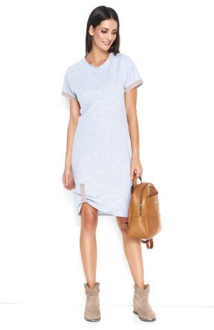 Sukienka dresowa do kolan bawełniana szara
