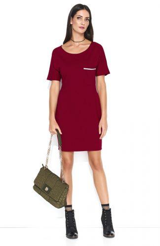 Dresowa wygodna sukienka mini z kieszonką bordo