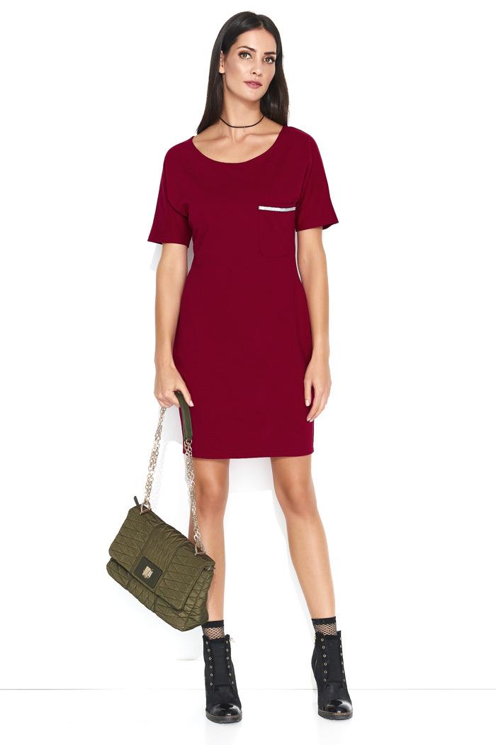 907fba9bcc Dresowa wygodna sukienka mini z kieszonką bordo - kurier już od 5
