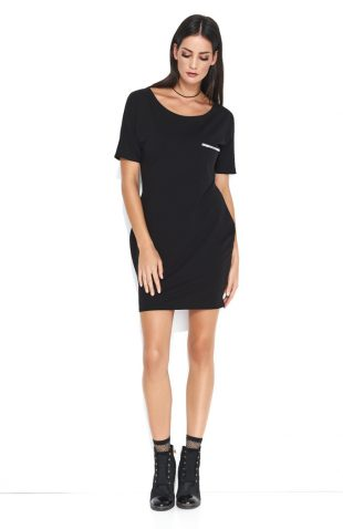 Dresowa wygodna sukienka mini z kieszonką czarna