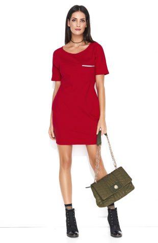 Dresowa wygodna sukienka mini z kieszonką czerwona