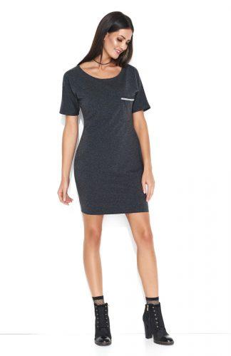 Dresowa wygodna sukienka mini z kieszonką grafit