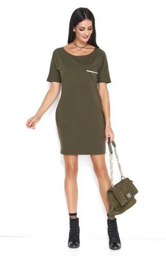 Dresowa wygodna sukienka mini z kieszonką khaki