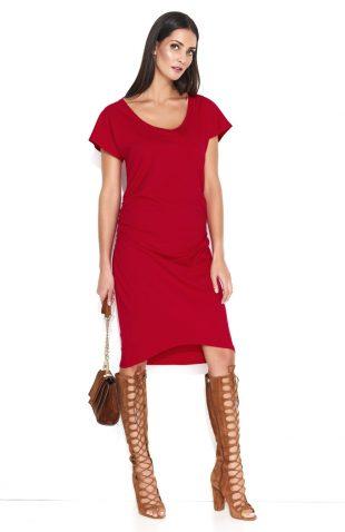 Dresowa sukienka midi z marszczeniami czerwona