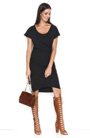 Dresowa sukienka midi z marszczeniami czarna