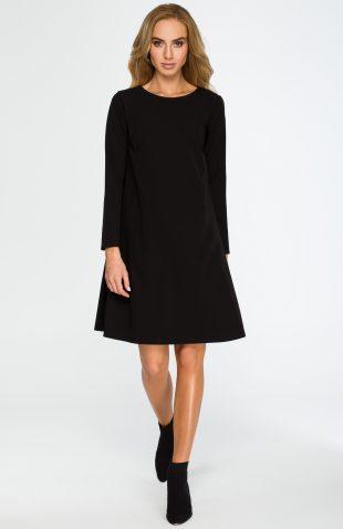 Elegancka luźna sukienka z kieszeniami czarna