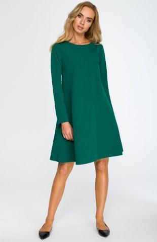 Elegancka luźna sukienka z kieszeniami zielona