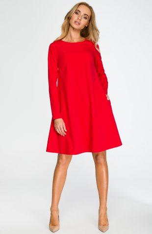 Elegancka luźna sukienka z kieszeniami czerwona