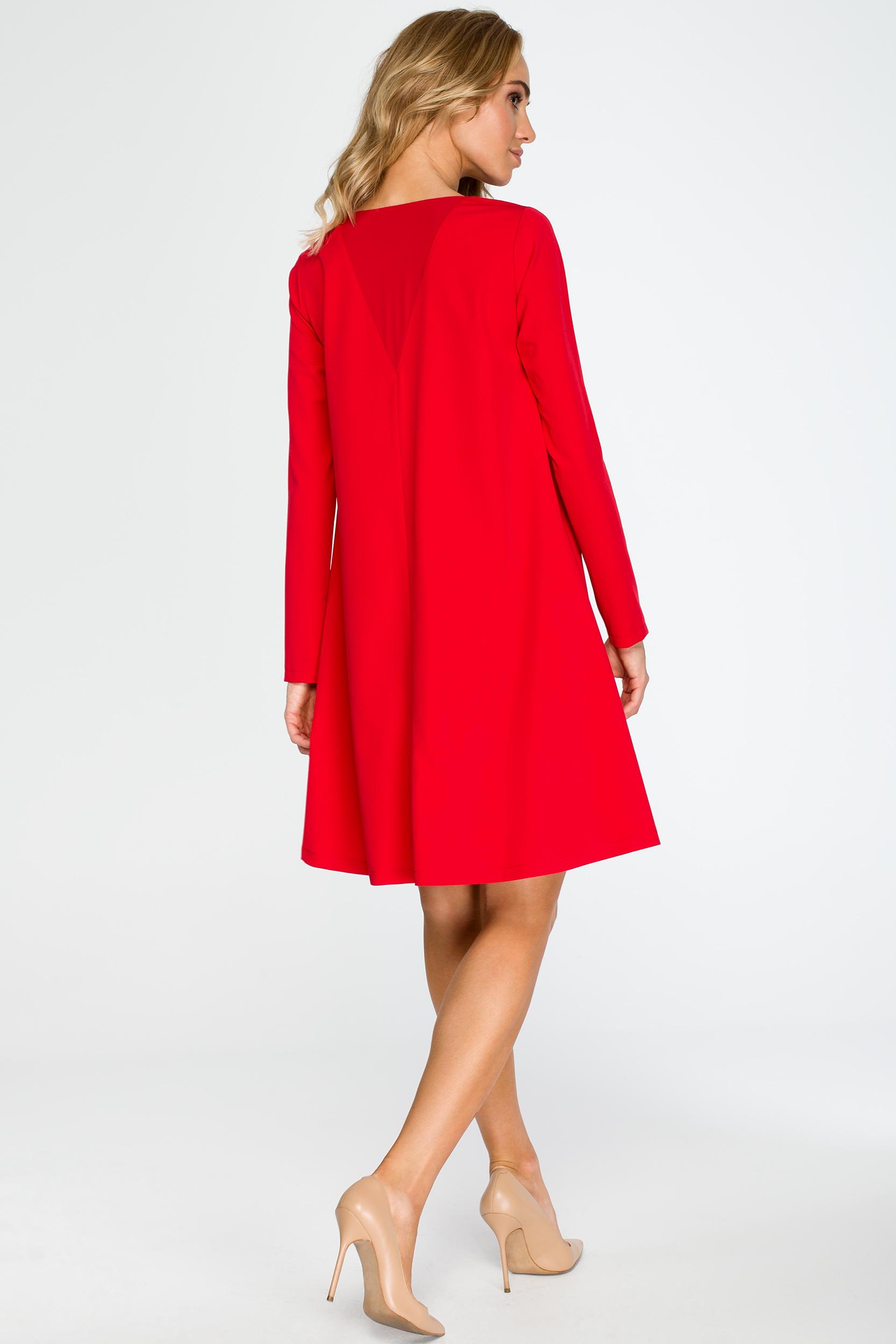 2097e9b8b2 Elegancka luźna sukienka z kieszeniami czerwona - wysyłka już od 5