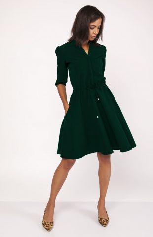 Rozkloszowana delikatna sukienka koszulowa zielona