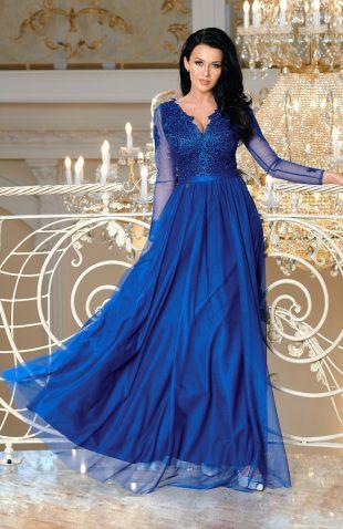 Wieczorowa sukienka maxi z haftem