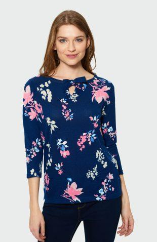 Klasyczny sweter z wiązaniem w kwiaty