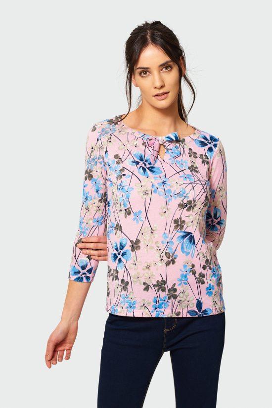 Klasyczny sweter z wiązaniem w kwiaty róż