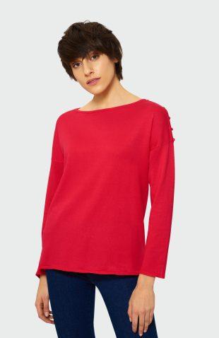 Klasyczny sweter z rozcięciami czerwony
