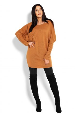 Tunika swetrowa oversize karmelowa