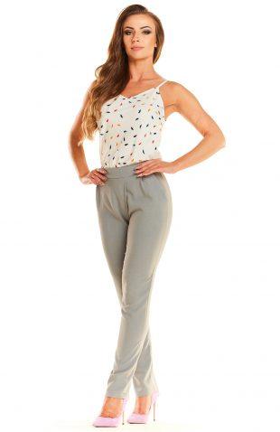 Eleganckie dopasowane spodnie o wysokim stanie szare