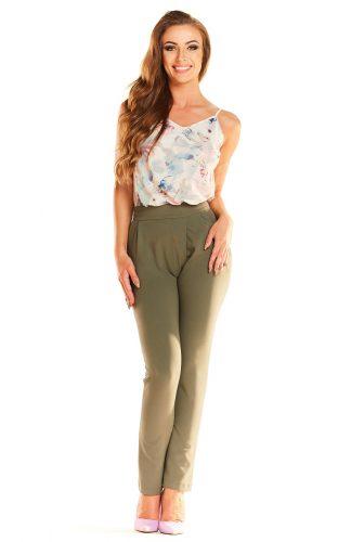 Eleganckie dopasowane spodnie o wysokim stanie khaki