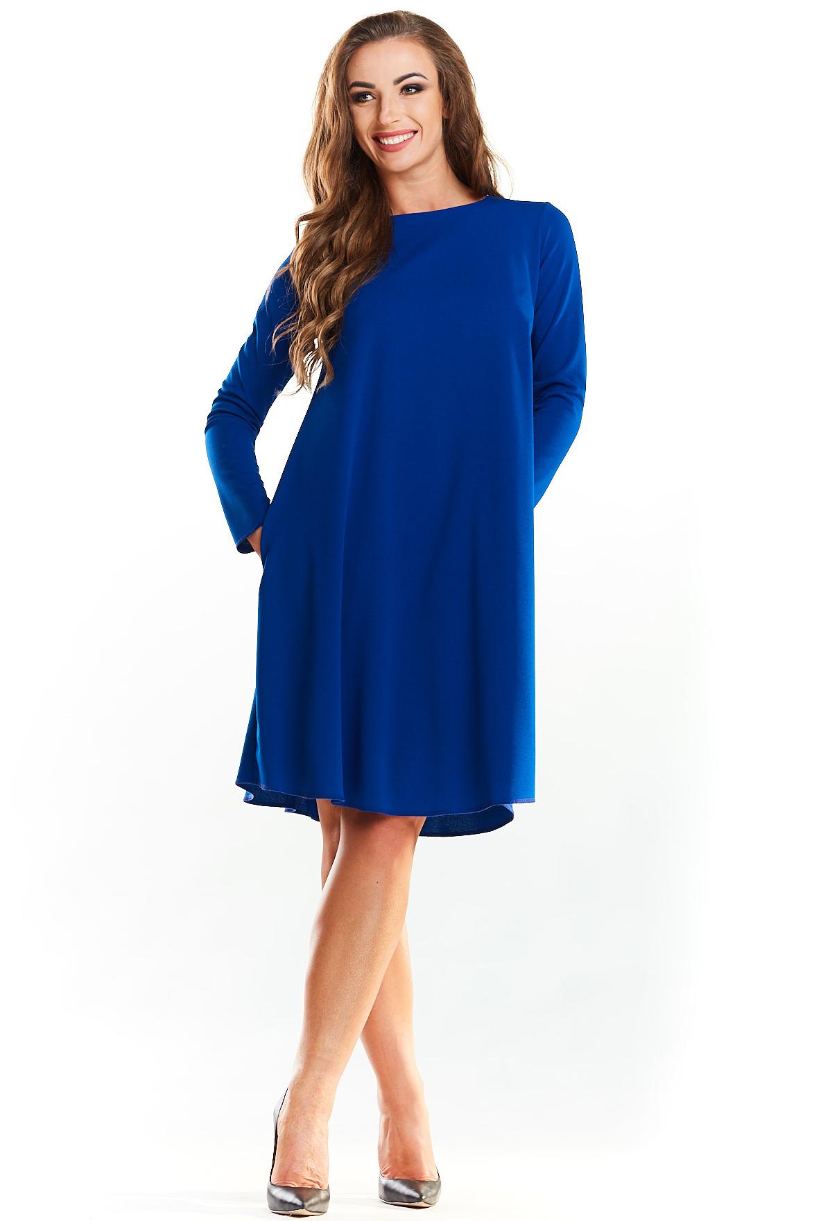 5486a69779 Trapezowa prosta sukienka do kolan niebieska - kurier już od 5