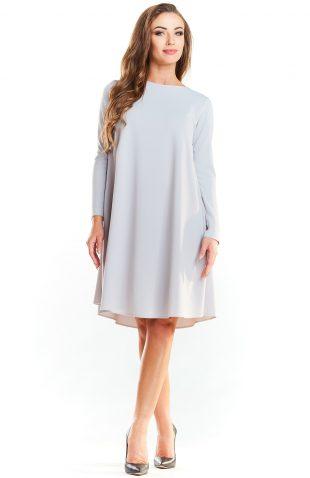 Trapezowa prosta sukienka do kolan szara