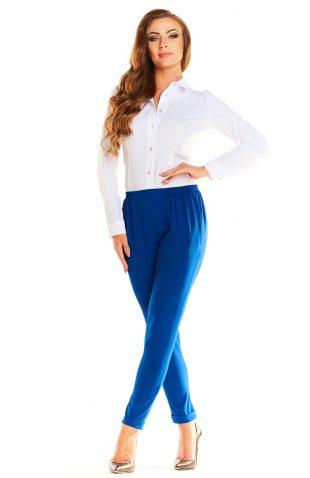 Eleganckie komfortowe spodnie z marszczeniami niebieskie