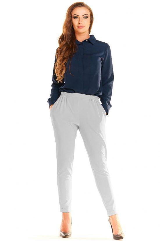 Eleganckie komfortowe spodnie z marszczeniami szare