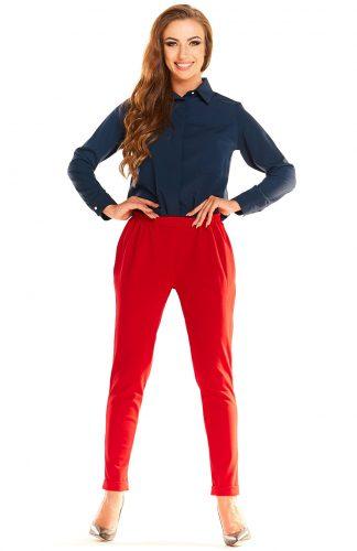 Eleganckie komfortowe spodnie z marszczeniami czerwone