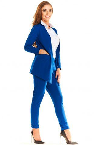 Żakiet casual asymetryczny z kieszeniami niebieski