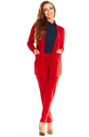 Żakiet casual asymetryczny z kieszeniami czerwony