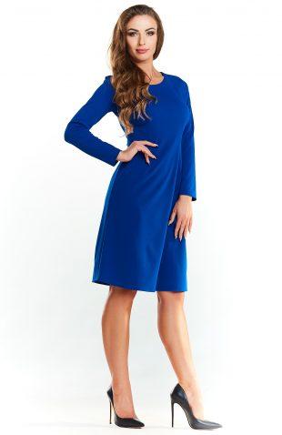 Klasyczna rozkloszowana sukienka do kolan niebieska