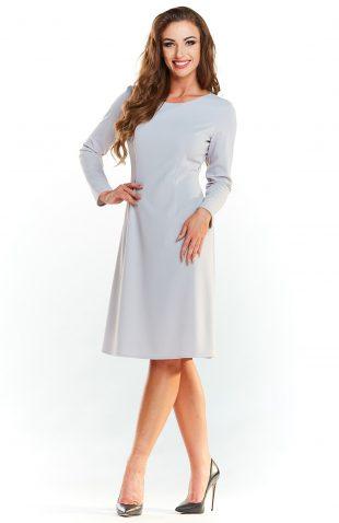 Klasyczna rozkloszowana sukienka do kolan szara
