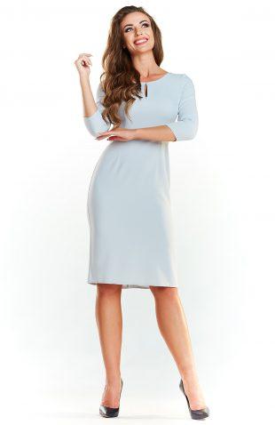 Klasyczna sukienka midi do pracy szara