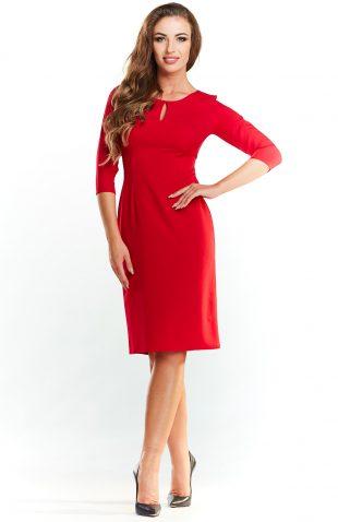 Klasyczna sukienka midi do pracy czerwona