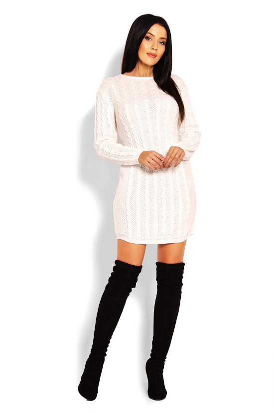 Tunika swetrowa dopasowana kremowa