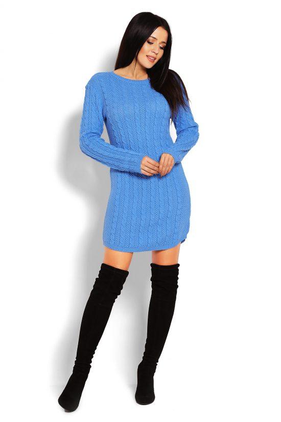 Tunika swetrowa dopasowana niebieska