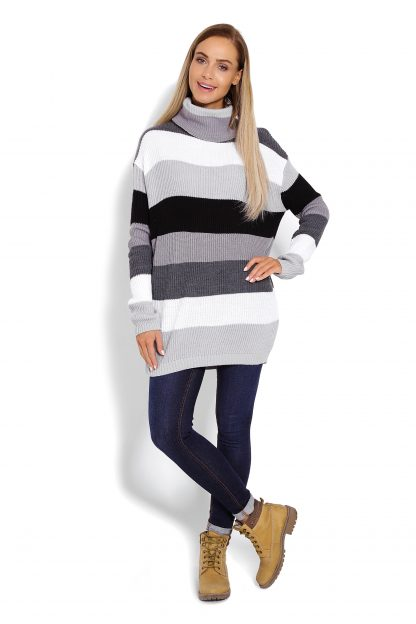 Sweter z golfem damski w pasy szarości